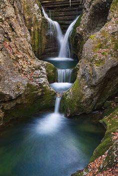 Gacnik Waterfall in Julian Alps, Slovenia