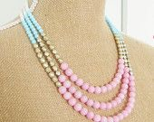 Color Block Necklace Pale Pink Dyed Jade, Matte Gold Czech Glass, Aqua Blue Glass, White Glass Statement Necklace OOAK