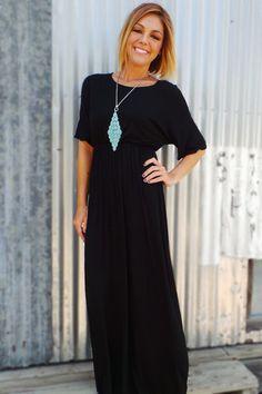 Black Basic Dolman Maxi Dress | The ZigZag Stripe