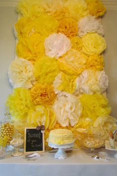 Tissue Pom backdrop for sweets table