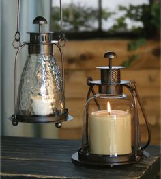A rustic style of candle lantern.