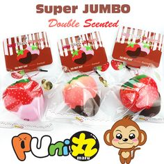 """Super+slow+rising+puni+maru+JUMBO+strawberry+squishies!+They+come+with+tags,+packaging,+licencing+and+ball+chains+with+a+strawberry+acrylic+tag.+So+cute!+And+they+smell+amazing!+ + See+how+squishy+they+are: <iframe+width=""""560""""+height=""""315""""+src=""""https://www.youtube.com/embed/F19wqfccpqY""""+frameb..."""