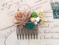 Wedding Hair Comb For Bride Emerald Green Brown Ivory Olive Gold Big Rose Flower Rustic Branches Leaf Floral Bridal Headpiece Woodland WR