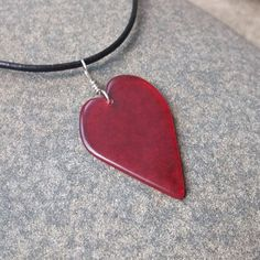Red heart necklace  unique glass pendant in by NaturesArtMelbourne,
