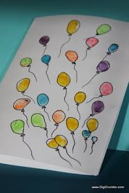 DigiCrumbs: Bunch of Balloons Happy Birthday Card - A DIY Fingerprint Art Project