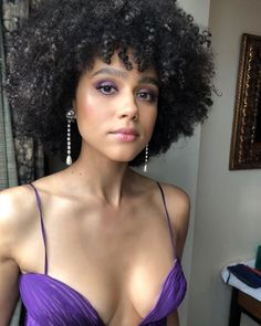 """Nathalie Emmanuel Cleavage at the Premiere of """"The Dark Crystal: Age of Resistance"""" in NY Beautiful Female Celebrities, Beautiful Actresses, Gorgeous Women, Beautiful People, Curly Hair Styles, Natural Hair Styles, Nathalie Emmanuel, Der Arm, Pretty Woman"""