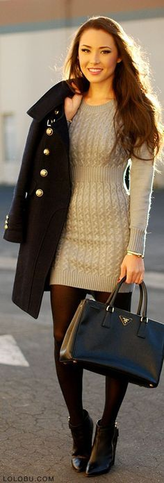 Shop this look on Lookastic: http://lookastic.com/women/looks/ankle-boots-tights-tote-bag-coat-bracelet-sweater-dress/6748 — Black Leather Ankle Boots — Black Tights — Black Leather Tote Bag — Black Coat — Gold Bracelet — Grey Sweater Dress