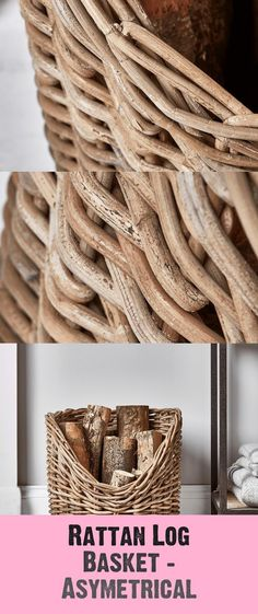 Rattan Log Basket - Asymetrical - #asymetrical #basket #rattan Log Holder, Hearth, Rattan, Basket, Decoration, Crafts, Ideas, Log Bedroom Furniture, Dekoration