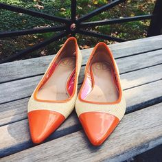 Lilly Pulitzer Straw Cap Toe Flats Lilly Pulitzer Palm Beach Straw Flats. Patent leather pointed cap toe in orange. Size 9. They fit true to size. -Straw Leather Upper -Leather Sole -Made in Brazil In excellent used condition, some noticeable wear on the front of right shoe (see pic).  No Trades. Please make all offers through offer button. Lilly Pulitzer Shoes Flats & Loafers