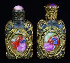 Antique pair of perfume bottles