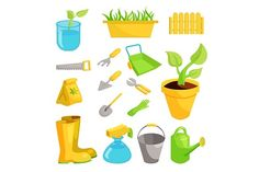 Garden icons set, cartoon style by Ylivdesign on @creativemarket