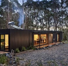 A Perfectly Proportioned Prefab Cabin Secluded in a Forest Clearing Secluded, prefabricated bliss. Musk Prefab Cabin by Modscape (via Lunchbox Architect) The Green Life Small Modular Homes, Modern Prefab Homes, Modern Cabins, Container Home Designs, Cabin Design, House Design, Shipping Container Cabin, Cargo Container, Prefab Cabins