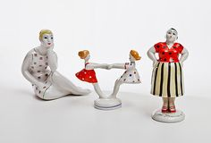 Credit: Heritage Gallery From L-R, 'Seated', 'Whirling girls' and 'Gossip' Three porcelain sculptures from the 1960s by Stolbova (sculptor) and Lupanov (painter). Part of the 'Happy Childhood' series. Manufactured at Lomonosov Porcelain Factory