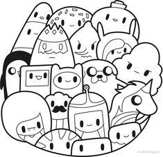 'Adventure Time kawaii fan art' by studiomogwai Cute Little Drawings, Cute Kawaii Drawings, Kawaii Doodles, Cute Doodles, Colorful Drawings, Cute Doodle Art, Doodle Art Designs, Doodle Art Drawing, Cute Art