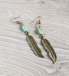 #Turquoise Feather Native Earrings