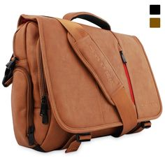 """Amazon.com: Snugg Crossbody Shoulder Messenger Bag in Brown Leather - Fits Laptops up to 15.6"""": Clothing"""