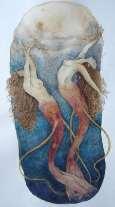 mermaids - could incorporate this onto the lid of an altoid altered project...maybe with some tiny seed pearls here and there...