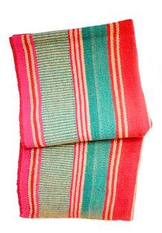 Bolivian Frazada Rug / Blanket, Watermelon Stripe