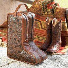 Tooled Leather Boot Bag