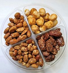 "Premium Deluxe Gourmet Freshly ""Roasted & Glazed"" Nuts Gift Tray 4 Sectional Holiday and Occasion Gift Platter"