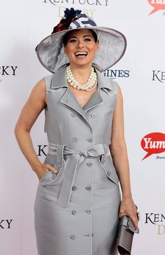 Debra Messing had the honor of wearing the Grey Goose Cherry Noir-inspired hat for the Kentucky Derby.  For the past eight years, the vodka brand has joined forces with a milliner who designs a topper for the Derby commemorating the launch of Grey Goose's latest flavor.