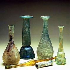 Ancient Roman Perfume & Cologne Glass Bottles  --  Photo courtesy of the Barcelona Perfume Museum  --  Spain