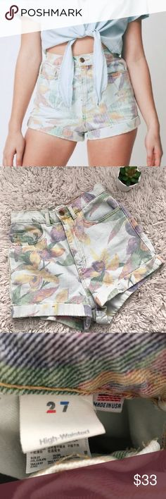 American Apparel Floral High Waist Short Sold out everywhere. Super cute for summer! Fit true to size. Worn a few times. Like new. American Apparel Shorts