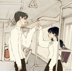 Pretty Art, Cute Art, Pretty Girls, Aesthetic Art, Aesthetic Anime, Manga Art, Anime Art, Cute Couple Art, Korean Art