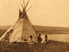 tipi (teepee or tepee) photograph : Piegan Camp by a Prairie Lake.