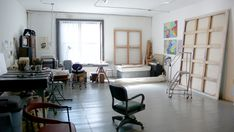 A studio space. Maybe art stuff on one side and dancing space on another...