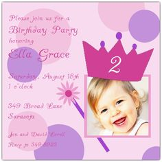 Crown Princess Photo Any Age Invitations