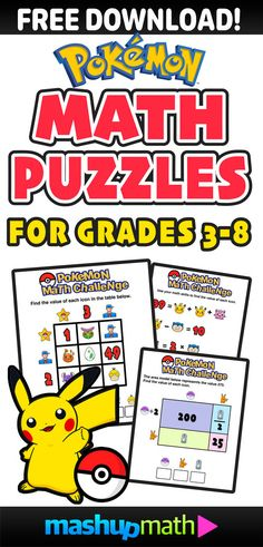 Are Your Kids Ready for these Pokemon Math Activities for Grades 3-8? 3rd grade, 4th grade, 5th grade, 6th grade, 7th grade, 8th grade, printable, worksheets, homeschool, pokemon go