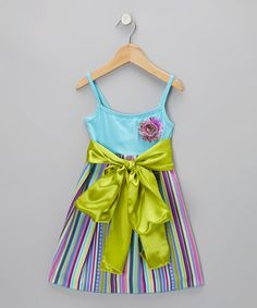 Take a look at this Aqua Pretty in Purple Stripe Sash-Tie Dress - Toddler & Girls by Koko Bean on #zulily today!