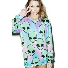 Space Sherbert Sweatshirt ($55) ❤ liked on Polyvore featuring tops, hoodies, sweatshirts, green sweatshirt, crew sweatshirt, green top, relaxed fit tops and crew neck sweatshirts