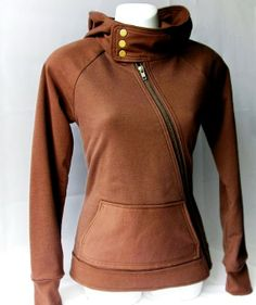 Chocolate Brown Cross Zip High Neck Hoodie