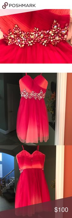 Strapless Homecoming/Prom dress Magenta/Orange homecoming/prom dress with crystals and ombré type effect. Strapless dress. Size 1-2. CONTACT ME IF LOOKING TO PURCHASE Sherri Hill Dresses Prom