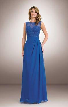1681 Lace illusion neckline with chiffon bridesmaids dress #laceBridesmaidsDresses