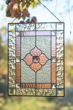 Items similar to Custom stained glass panel with beveled glass inserts Modern stained glass suncatcher on Etsy Modern Stained Glass, Stained Glass Door, Custom Stained Glass, Stained Glass Suncatchers, Stained Glass Flowers, Stained Glass Designs, Stained Glass Panels, Stained Glass Projects, Leaded Glass