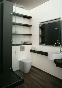 Sala de baño en cristal, decoracion blanco y negro. (bathroom with glass decoration in white and black)