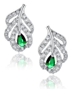 Peacock Feather W. Green Teardrop and Clear Round Cubic Zirconia Stud Earrings Silver Tone Finish 1022601X