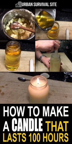 Making a candle that lasts 100 hours is a lot easier than you think. You just need a regular thin candle a jar and some Crisco. Making a candle that lasts 100 hours is a lot easier than you think. You just need a regular thin candle a jar and some Crisco. Emergency Preparedness Kit, Emergency Preparation, Emergency Supplies, Emergency Food, Camping Supplies, Emergency Binder, Survival Life Hacks, Survival Food, Survival Prepping