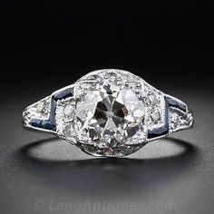 1.42 Carat Diamond and Sapphire Art Deco Engagement Ring - 10-1-4450 - Lang Antiques
