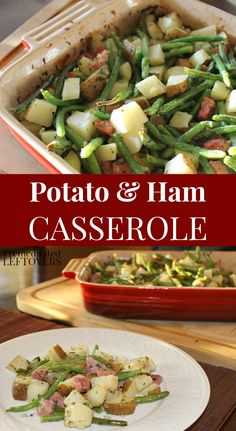 This roasted potato and ham casserole recipe with green beans is easy to make and comes together fast! It can be made with leftover ham and whatever vegetables you have. This ham casserole is a family favorite!