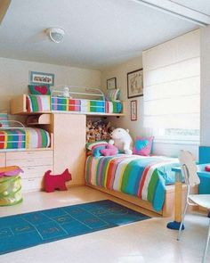 Bedroom Ideas – Colorful Stripe Bed Linen Bunk Beds for Three Childs Bedroom Ideas