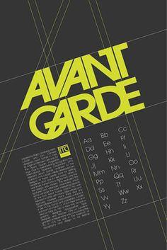 Avant Garde type specimen by Tyla Conerly