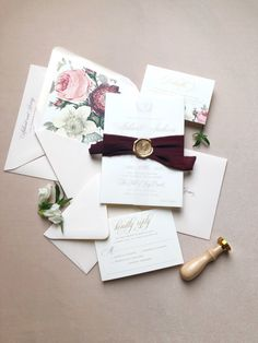 Blush and burgundy wedding invitation suite with vellum wrap, chiffon ribbon and gold wax seal. The watercolor floral envelope liner brings it all together. Bespoke Wedding Invitations, Burgundy Wedding Invitations, Wedding Invitation Inspiration, Country Wedding Invitations, Wedding Invitation Wording, Floral Invitation, Wedding Stationery, Wedding Invitations Ribbon, Event Invitations