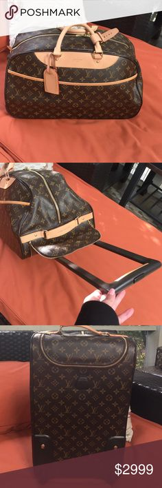 AUTHENTIC Lois Vuitton rolling carry on ✈️ Only used once! Approx 19 1/2 x 12. Fits in overhead perfectly. It has a retractable handle concealed inside a zipper compartment. Zippered front pocket. Inside very clean. The leather is in great shape. A small smudge on one handle A few small scuffs on the bottom of the bag. And a few tiny scuffs on sides. But really it in overall great used condition. What you would expect after one time use for a weekend. No box or dust bag. Happy to post more…