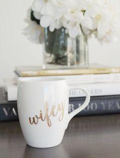 Gold Wifey Mug - (ONE) Engraved Dansk Fjord White Porcelain Coffee Mug - Wedding Gift - Engagement Gift - Anniversary Gift - Newlyweds Gift