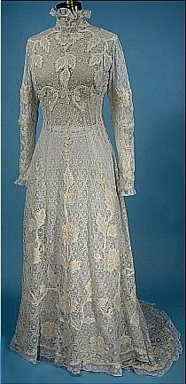 6567# - full of lace historic wedding dress from 1908  http://www.antiquedress.com/gallerywed.htm