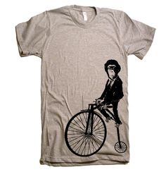 Men's Monkey on a Bike T Shirt  American Apparel  XS by lastearth, $21.00